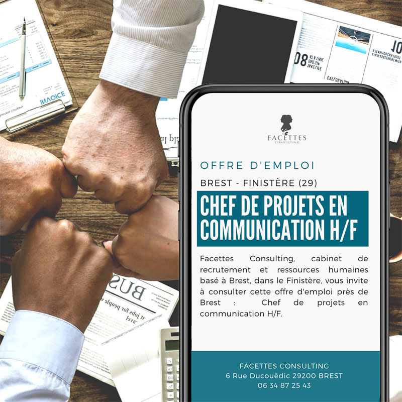 offre emploi brest facettes consulting chef projets communication 02